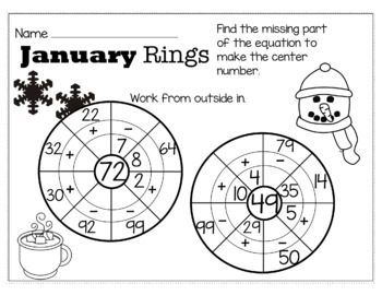 Winter January Math for 2nd Grade - NO PREP Packet