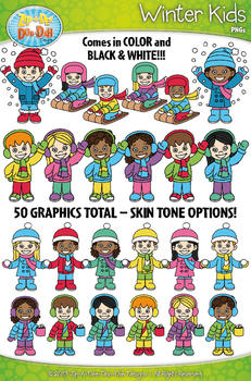 Winter Kid Characters Clipart Set — Includes 50 Graphics!