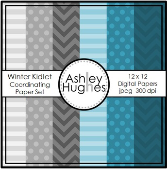 12x12 Digital Paper Set: Winter Kidlets Coordinating {A Hughes Design}