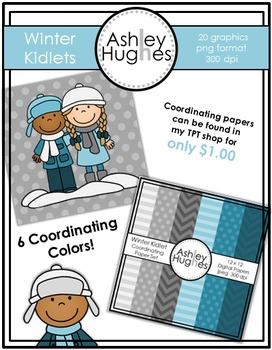 12x12 Digital Paper Set: Winter Kidlets Coordinating {A Hughes Design}