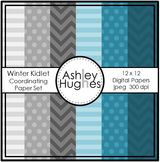 12x12 Digital Paper Set: Winter Kidlets Coordinating {A Hu