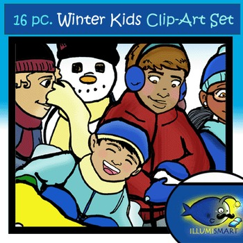 Winter Kids (16 pc. Clip-Art BW & Color!)