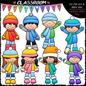 Winter Kids Clip Art Bundle (3 Sets)