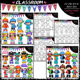 Winter Kids Clip Art & B&W Bundle (3 Sets)