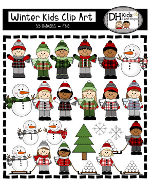 Winter Kids Clip Art - Personal and Commercial Use - Boys & Girls
