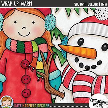 "Winter Kids Clip Art: ""Wrap Up Warm"""