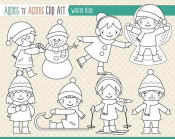 Winter Kids Clip Art - scheme B - color and outlines
