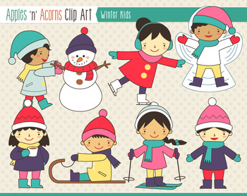 Winter Kids Clip Art - scheme B - color and outlines