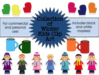 Winter Kids Clipart Collection for Commercial and Personal Use FREEBIE