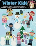 Winter Kids Clipart-Color and Black Lines