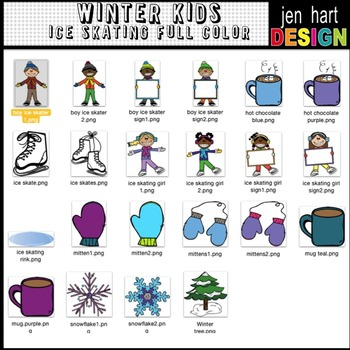 Winter Kids Clipart ~ Ice Skating