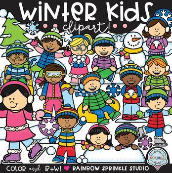 Winter Kids Clipart {winter activities clipart}