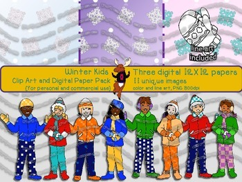Winter Kids Digital Papers and Clipart {for personal and commercial use}