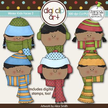 Winter Kids Faces 2-  Digi Clip Art/Digital Stamps- CU Clip Art