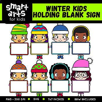 Winter Kids Holding Blank Sign Clip Art