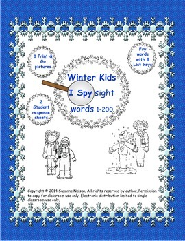 Winter Kids I Spy Sight Words