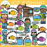 Winter Kids Ice Fishing Clip Art