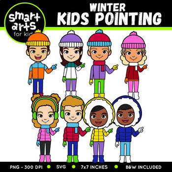 Winter Kids Pointing Clip Art