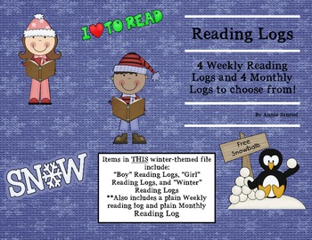 Winter Kids Reading Logs: Daily & Monthly Recording Sheets