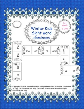 Winter Kids Sight Words Dominoes