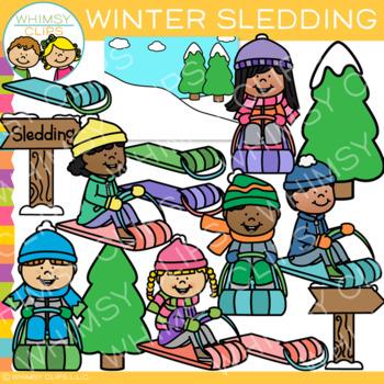 Winter Kids Sledding Clip Art