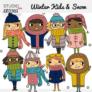 Winter Kids + Snow Clipart