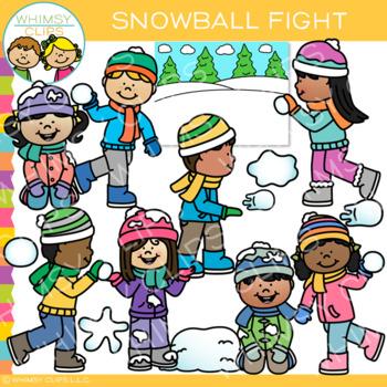 Winter Kids Snowball Fight Clip Art