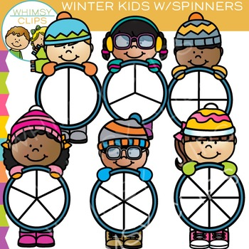 Spinners with Winter Kids Clip Art