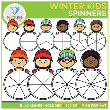 Winter Kids Spinners Clip Art