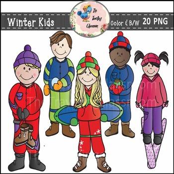 Winter Kids & Sports Clip Art