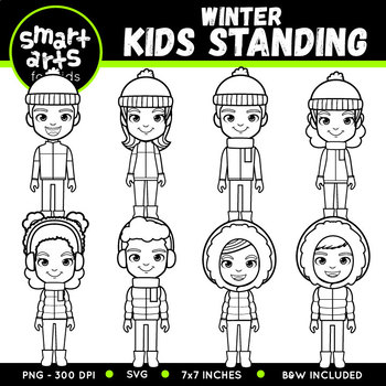 Winter Kids Standing Clip Art