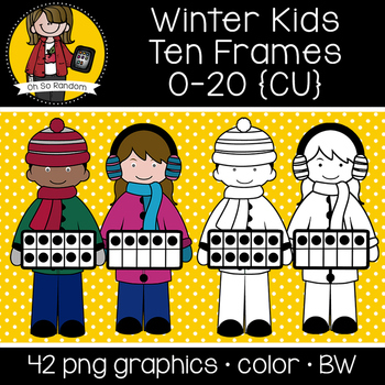 Winter Kids Ten Frames {Graphics for Commercial Use}