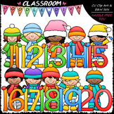 Winter Kids With Math Numbers (11-20) - Clip Art & B&W Set