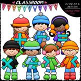 Winter Kids With Math Symbols - Clip Art & B&W Set