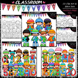Winter Kids With Math Symbols and Numbers - Clip Art & B&W Bundle 1 (3 Sets)