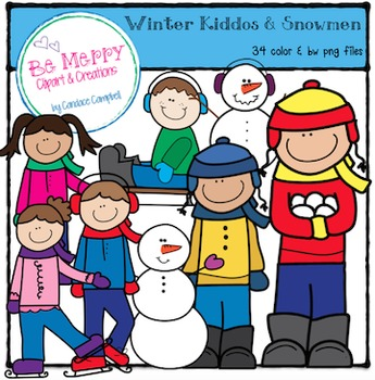Winter Kids and Snowmen