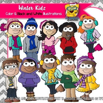 Winter Kids in Hats and Scarves Clipart - Commercial Use