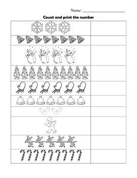 Winter - Kindergarten Counting Practice