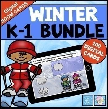 BOOM CARDS ELA MATH BUNDLE Kindergarten 1st Winter