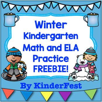 Winter: Kindergarten Math and ELA Practice - FREEBIE