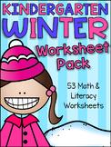 Winter Kindergarten Math and Literacy Worksheet Pack