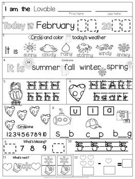 Morning Work Bundle: Kindergarten Winter Packet (Differentiated Common Core)