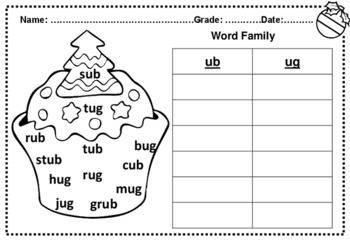 Winter Kindergarten No Prep Word Families Word Sort