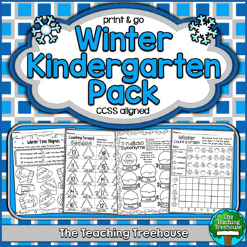 Winter Kindergarten Pack, No Prep, CCSS Aligned