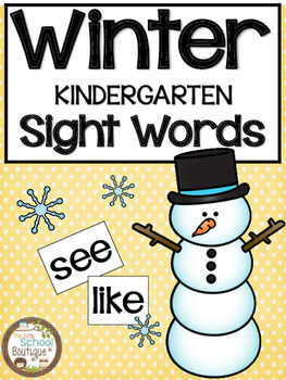 Winter Kindergarten Sight Words