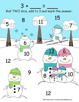 Winter Kindergarten and 1st Grade Differentiated Learning Math Packet