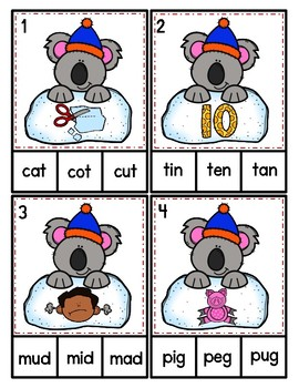 Winter Koala CVC Clip Cards Kindergarten Preschool Literacy Center