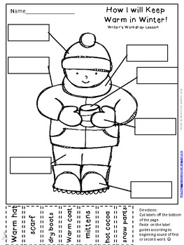 Winter Labeling Activity for Writer's Workshop:  How I will Keep Warm