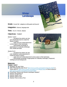 Winter Landscape - Visual Art Lesson Unit - 1st - 8th Grade