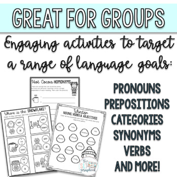 Winter Language Activities Pack- for Speech Therapy or EAL